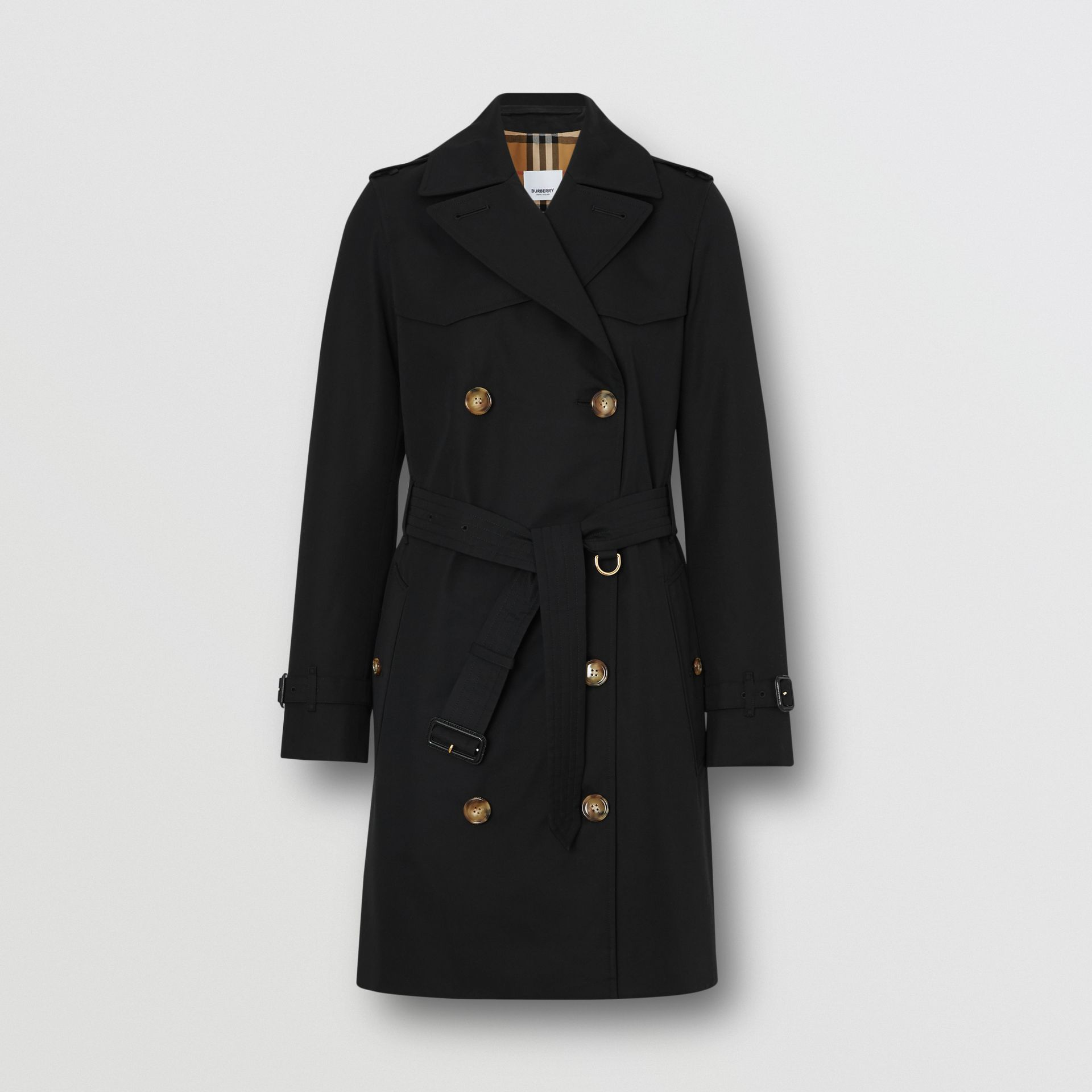 Cotton Gabardine Trench Coat in Black - Women | Burberry - gallery image 3