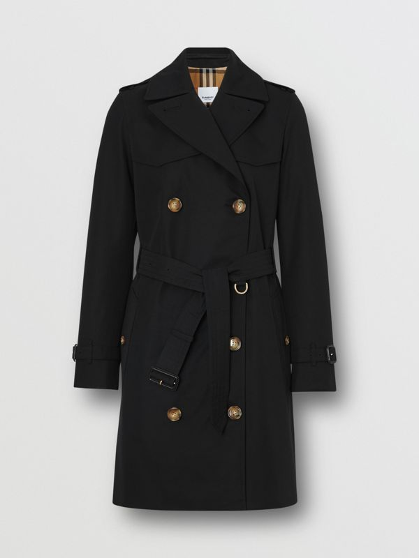 Cotton Gabardine Trench Coat in Black - Women | Burberry - cell image 3