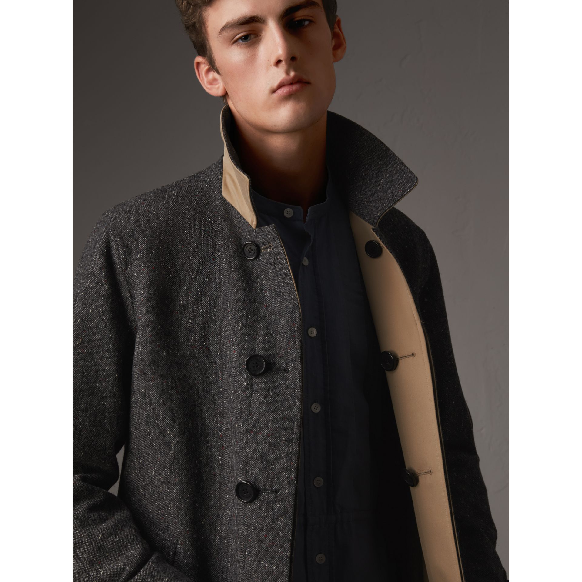 Reversible Gabardine and Donegal Tweed Car Coat in Honey - Men | Burberry Australia - gallery image 2