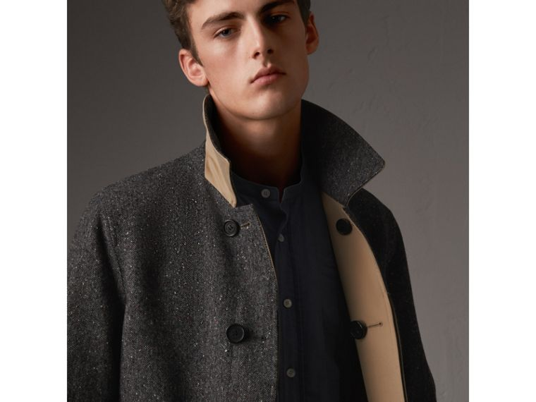 Reversible Gabardine and Donegal Tweed Car Coat in Honey - Men | Burberry Australia - cell image 1