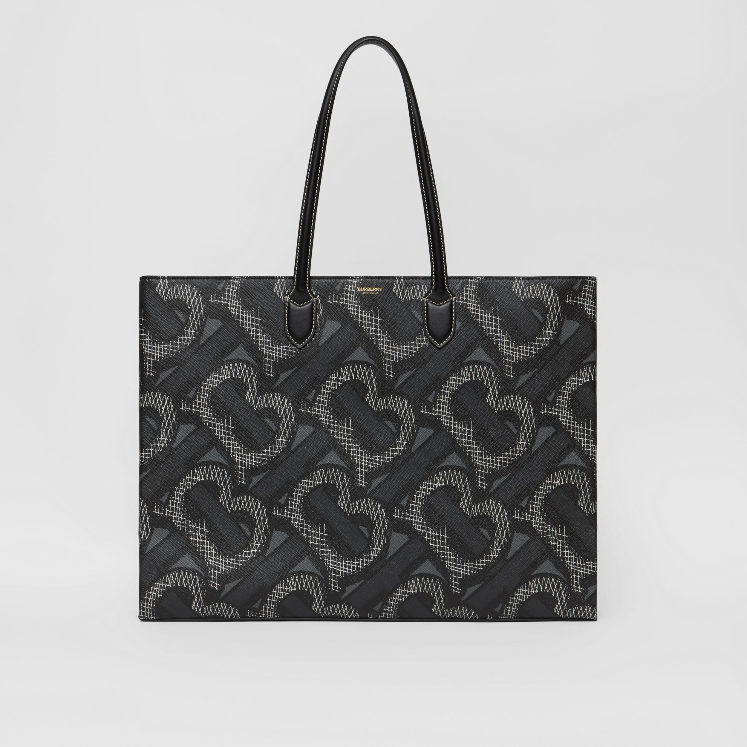 Monogram Print E-canvas Tote Bag in Graphite | Burberry Australia - 1