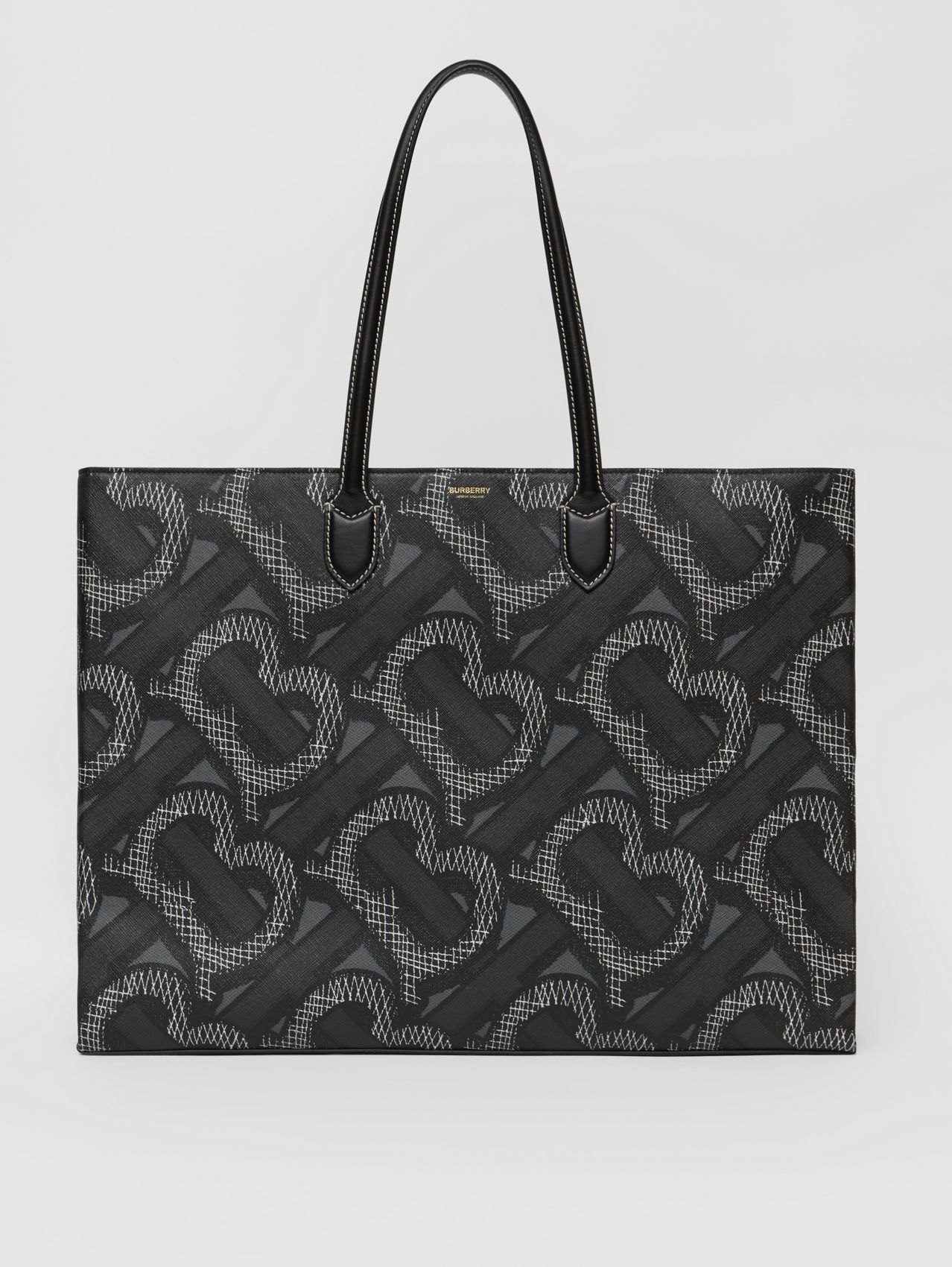 Monogram Print E-canvas Tote Bag in Graphite