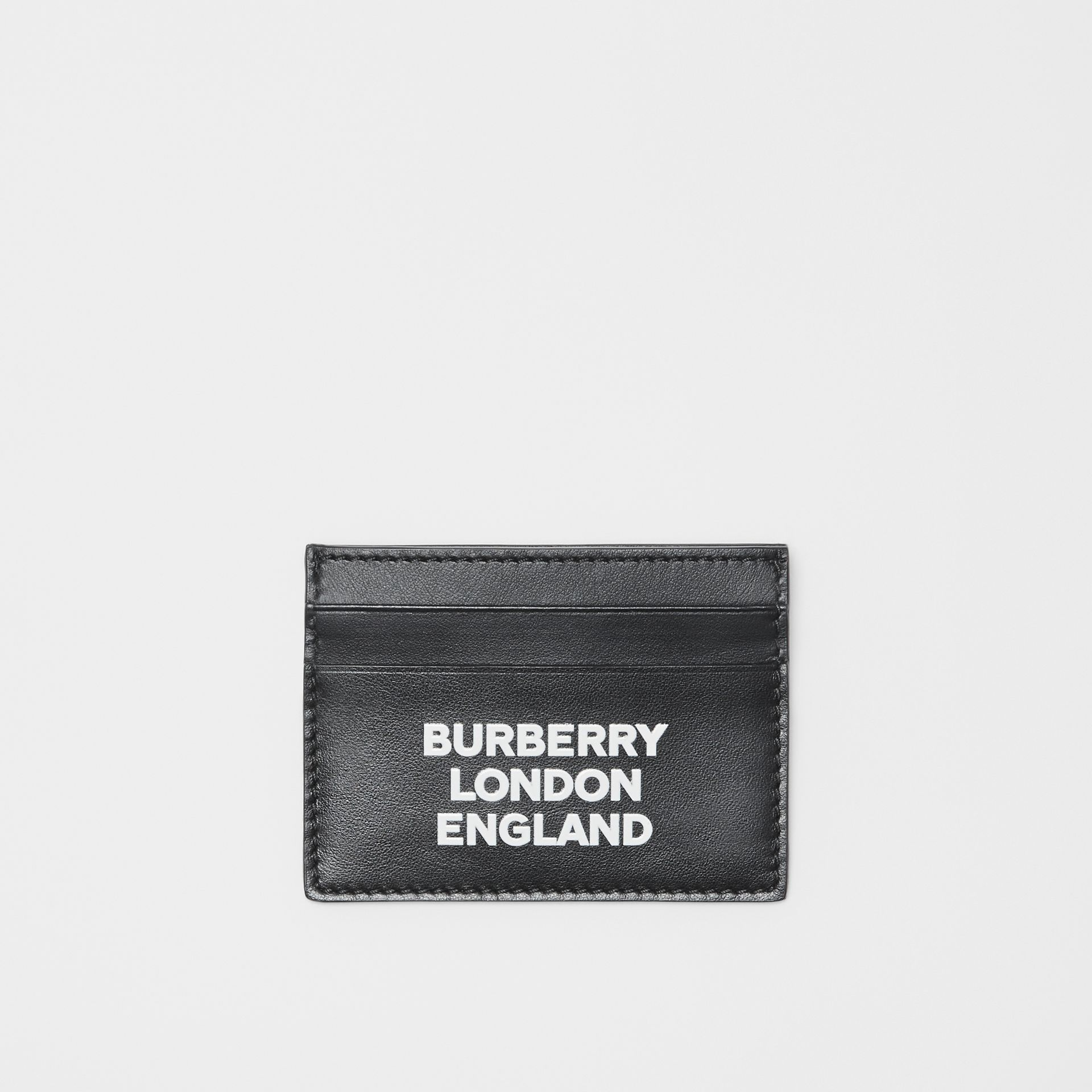 Logo Print Leather Card Case in Black | Burberry - gallery image 0