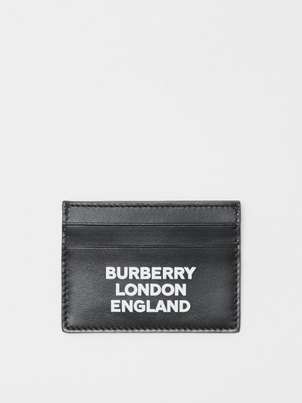 Logo Print Leather Card Case in Black