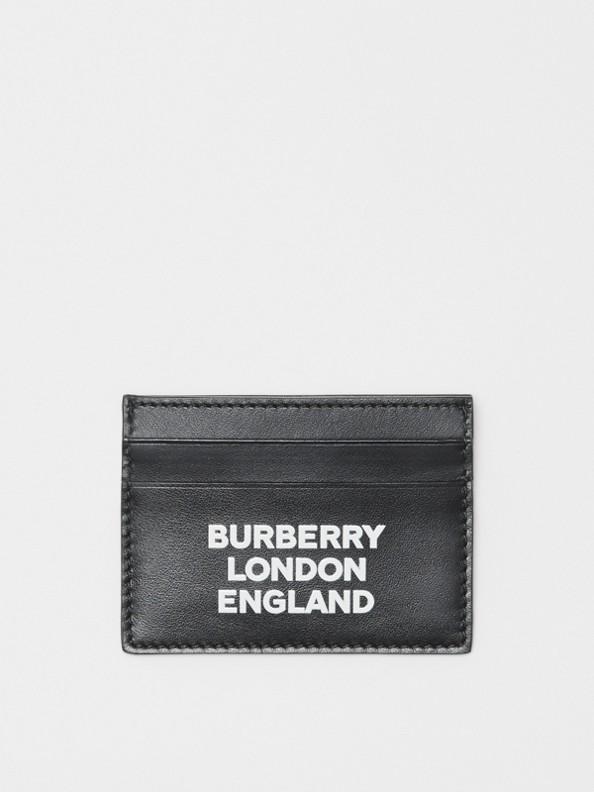 Porte-cartes en cuir avec logo imprimé (Noir)