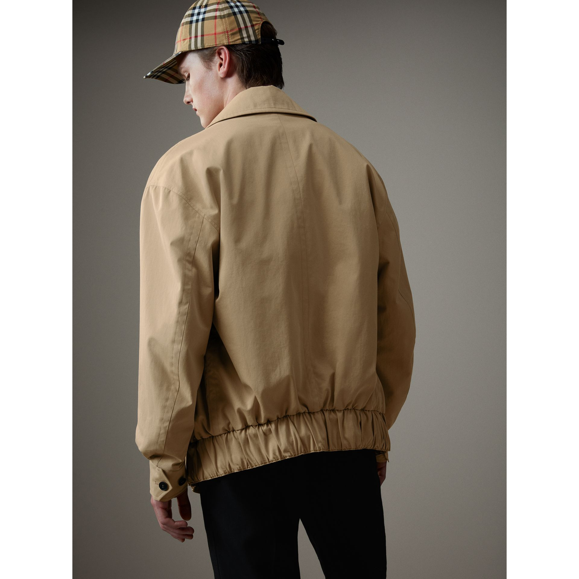 Tropical Gabardine Harrington Jacket in Honey - Men | Burberry Australia - gallery image 2