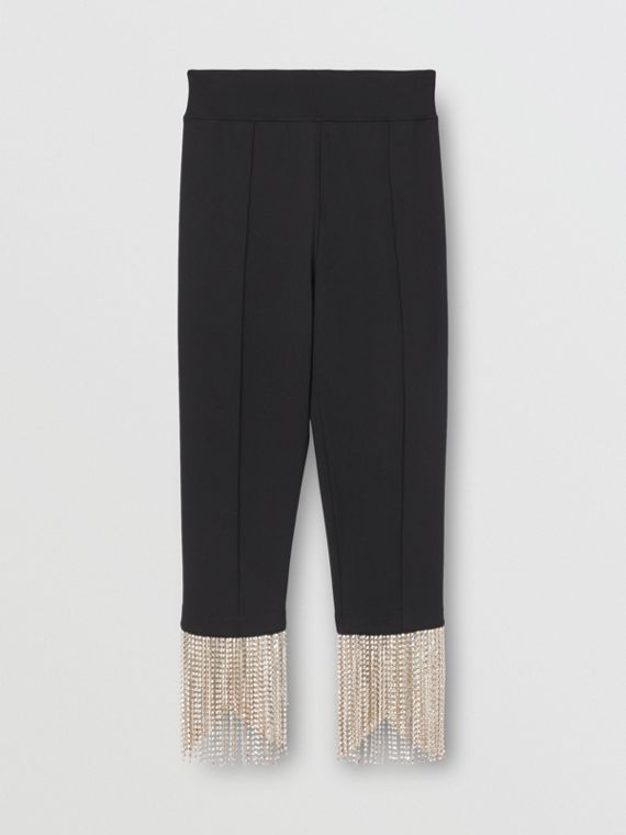 Crystal Fringe Stretch Jersey Leggings in Black