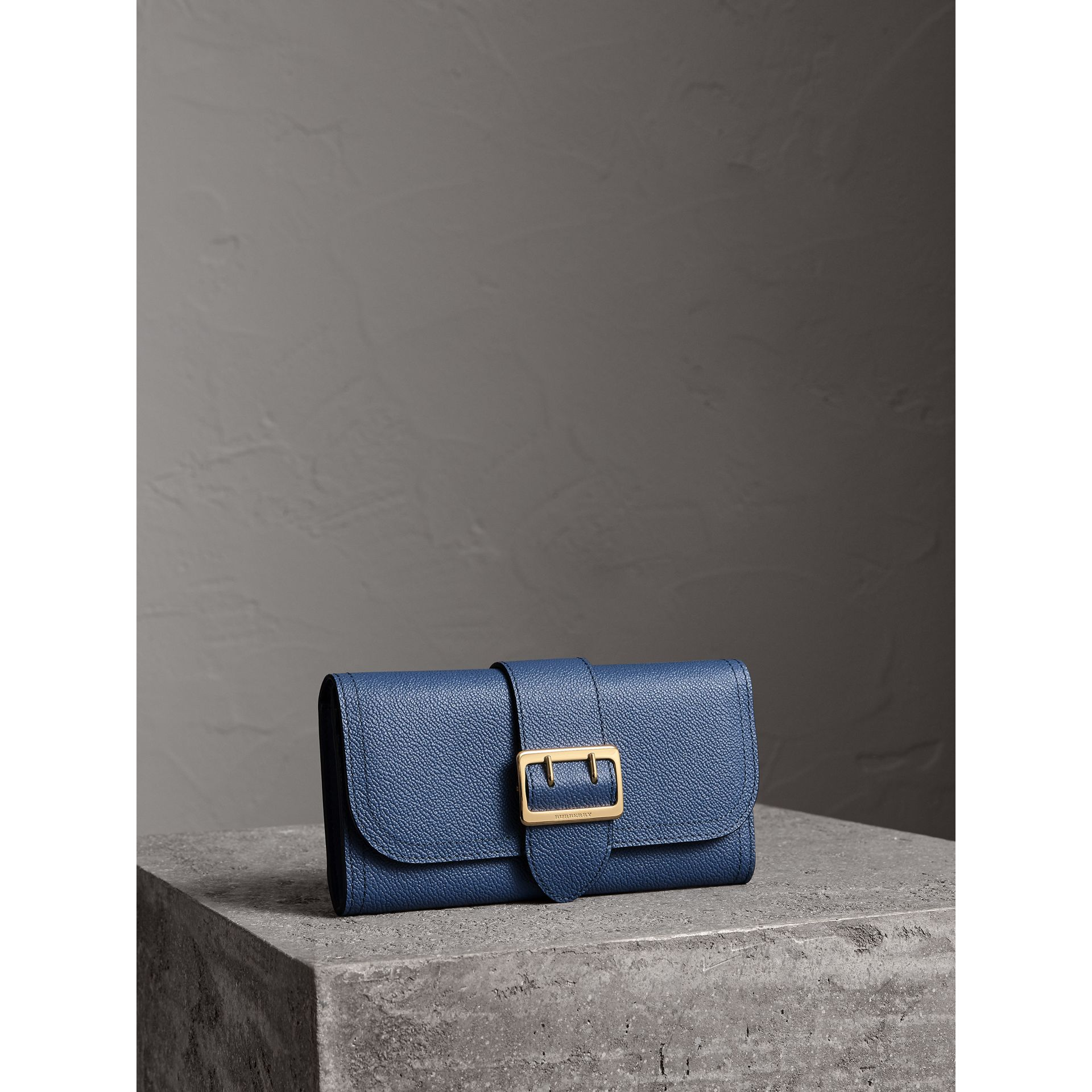 Textured Leather Continental Wallet in Steel Blue - Women | Burberry - gallery image 1