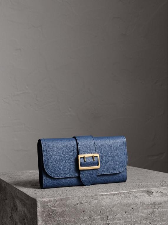 Portefeuille continental en cuir texturé (Bleu Acier)