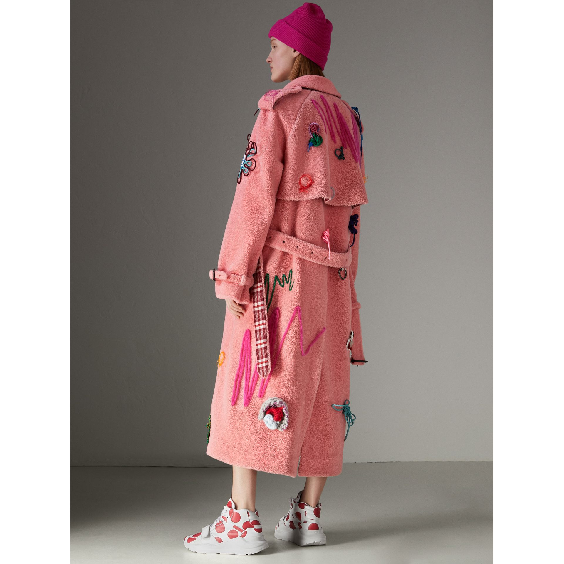 Embellished Shearling Trench Coat in Bright Pink - Women | Burberry - gallery image 2