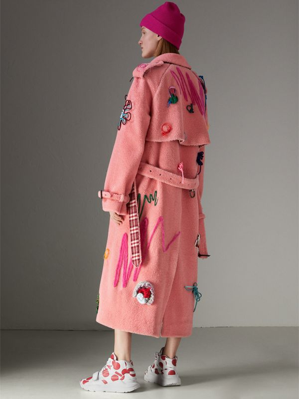 Embellished Shearling Trench Coat in Bright Pink - Women | Burberry - cell image 2