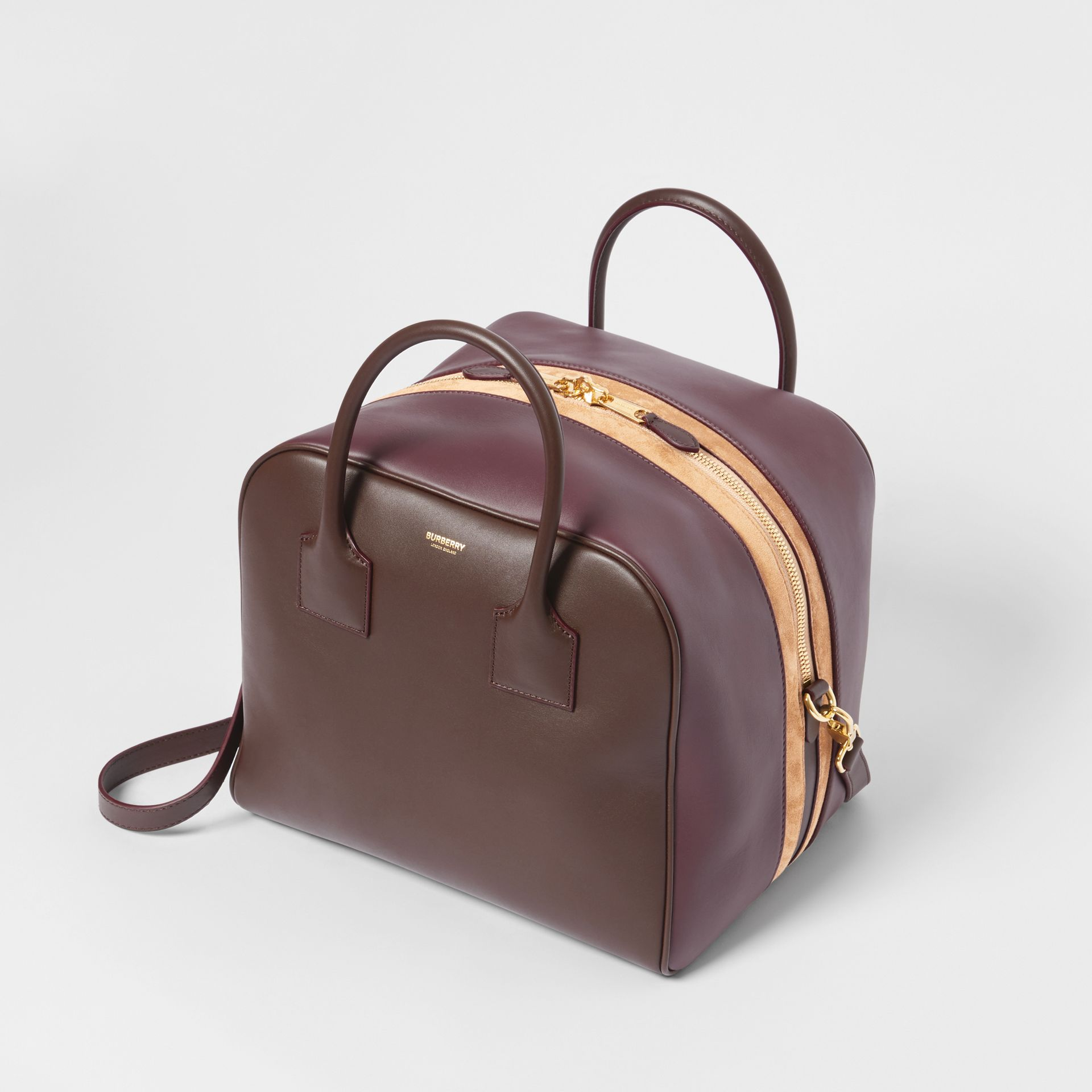 Medium Leather and Suede Cube Bag in Mahogany - Women | Burberry United Kingdom - gallery image 3