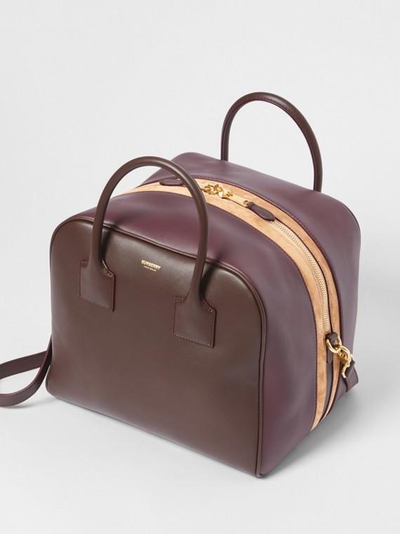 Sac Cube moyen en cuir et cuir velours (Acajou)