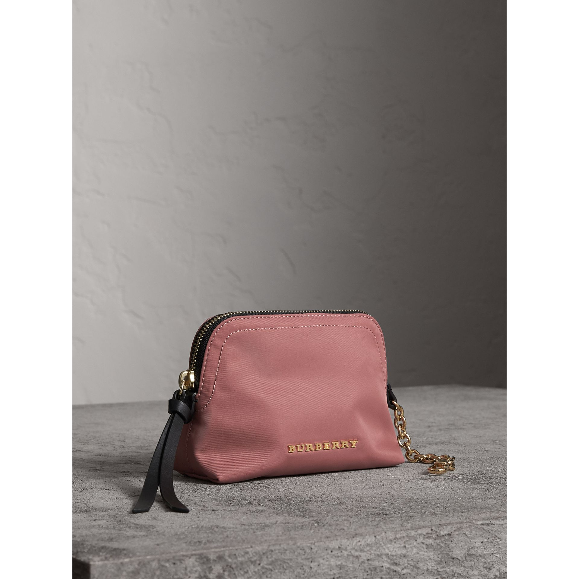 Small Zip-top Technical Nylon Pouch in Mauve Pink - Women | Burberry United Kingdom - gallery image 5