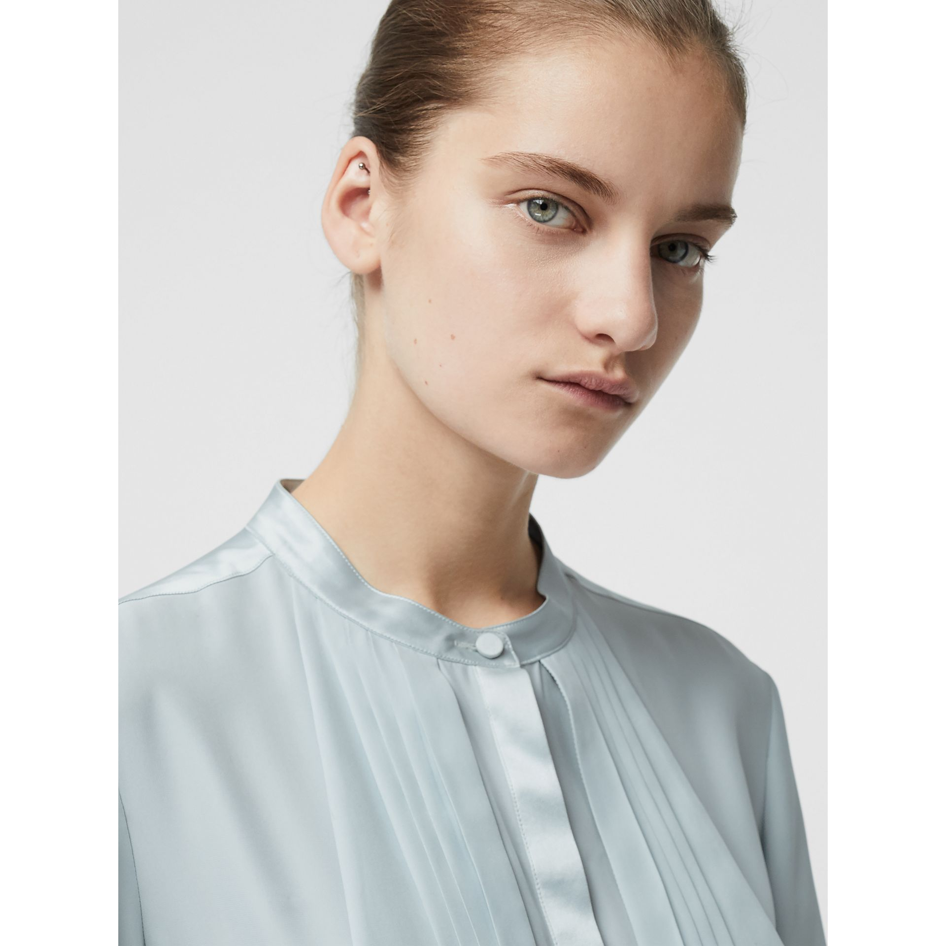 Silk Satin Shirt Dress in Pale Blue - Women | Burberry United Kingdom - gallery image 1
