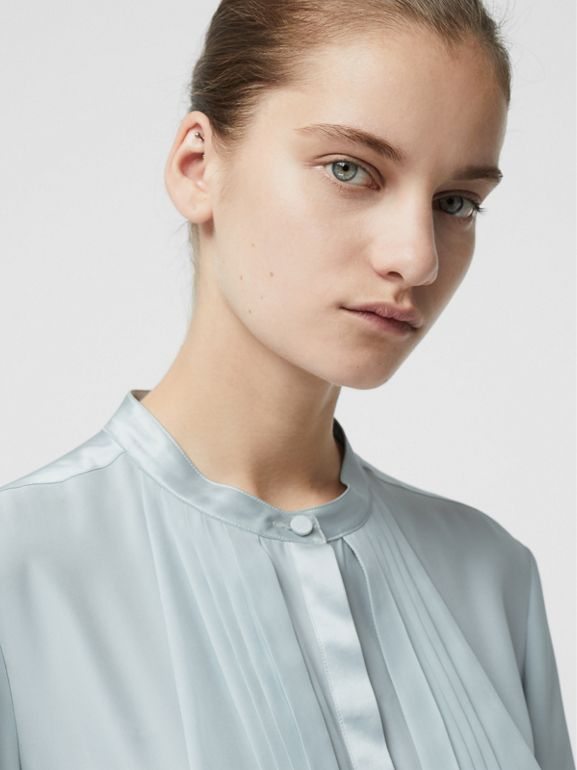 Silk Satin Shirt Dress in Pale Blue - Women | Burberry - cell image 1