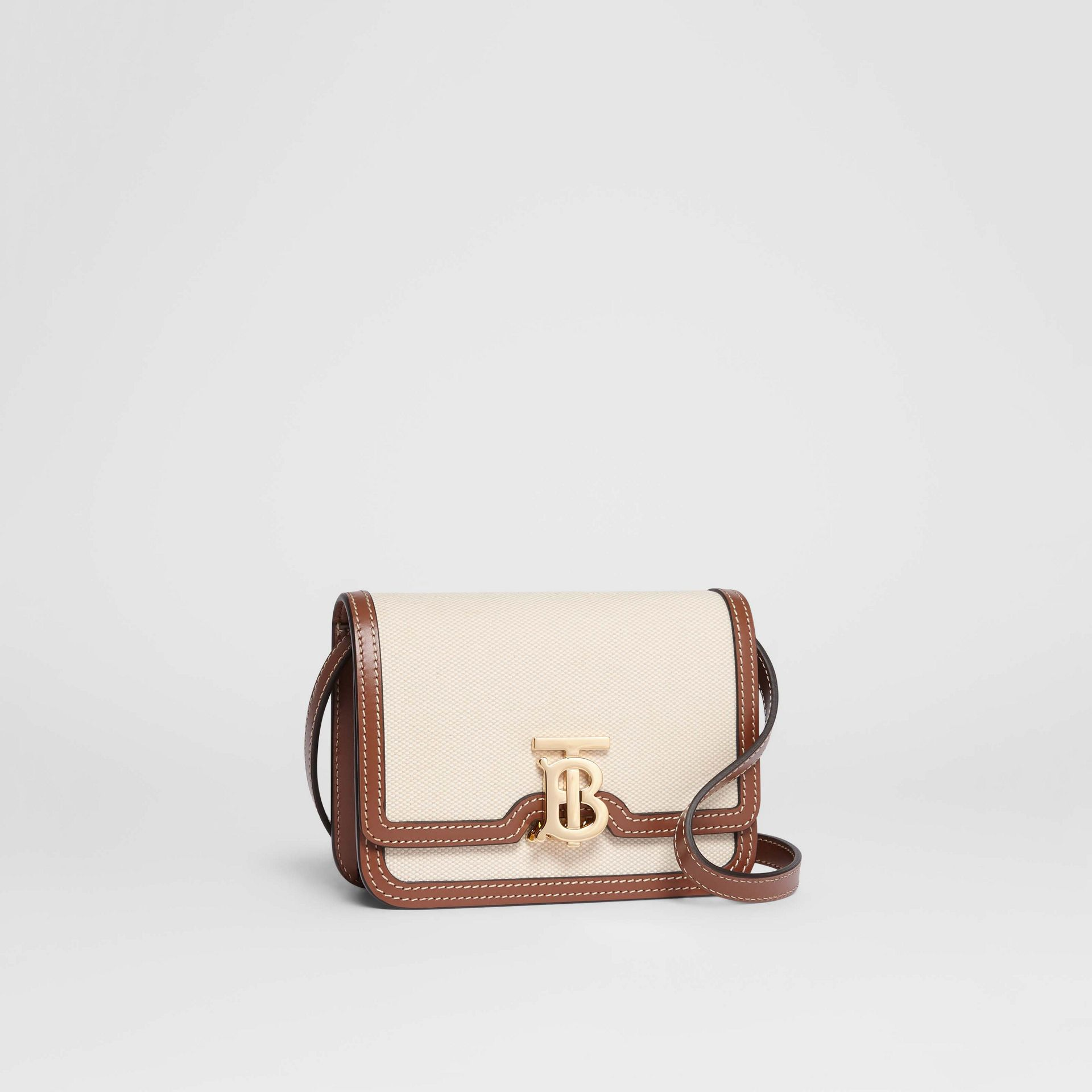 Mini Two-tone Canvas and Leather TB Bag in Natural/malt Brown - Women | Burberry - gallery image 6
