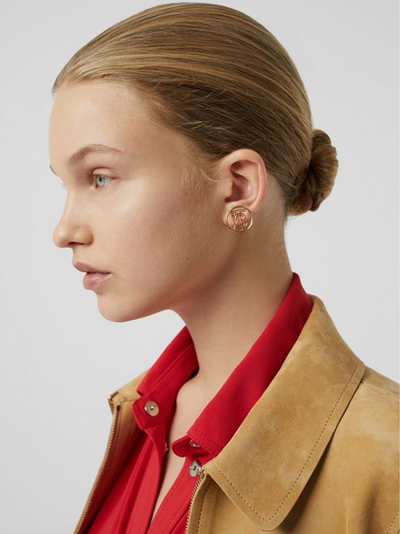 Monogram Motif Suede Riding Jacket in Sand - Women | Burberry - cell image 1