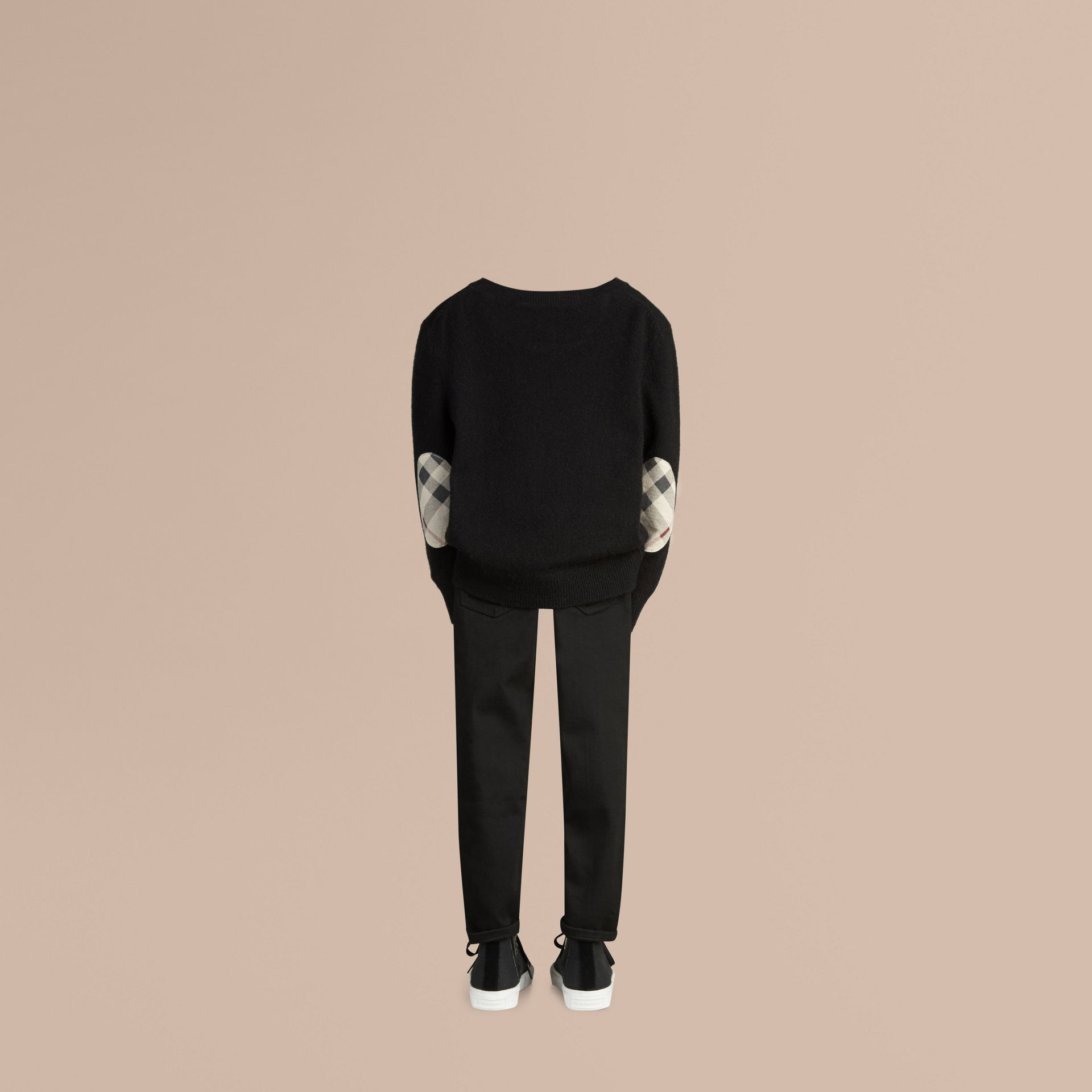 Check Elbow Patch Cashmere Sweater Black - gallery image 3