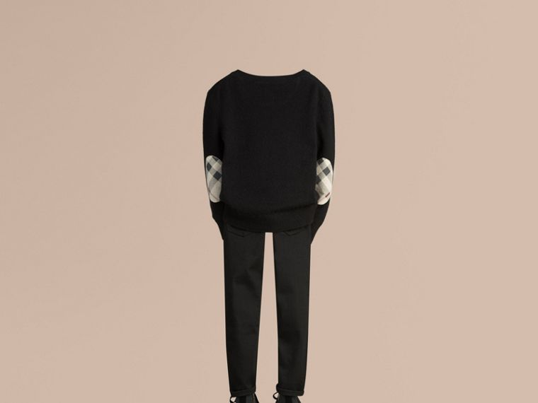 Check Elbow Patch Cashmere Sweater in Black - cell image 2