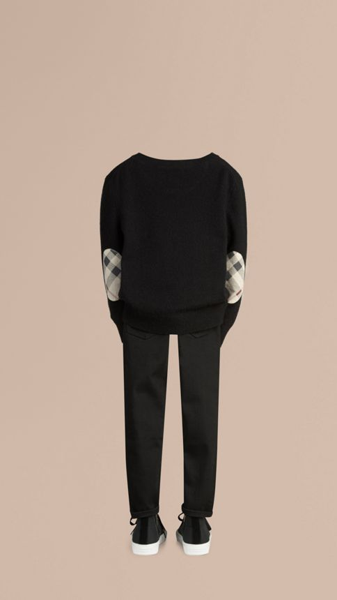 Black Check Elbow Patch Cashmere Sweater Black - Image 3