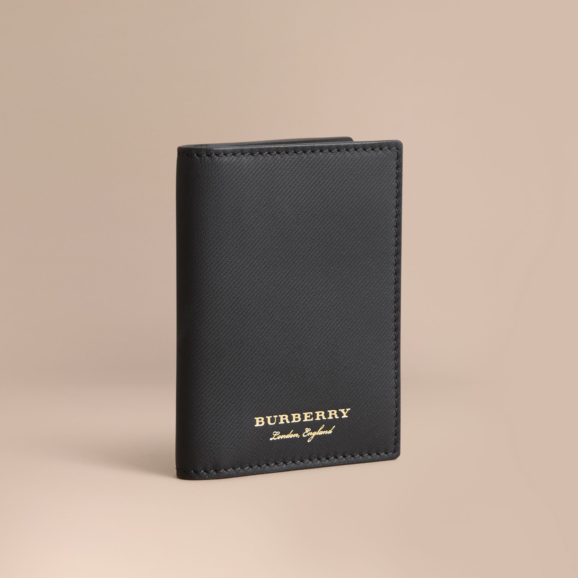 Trench Leather Folding Card Case in Black - Men | Burberry - gallery image 1