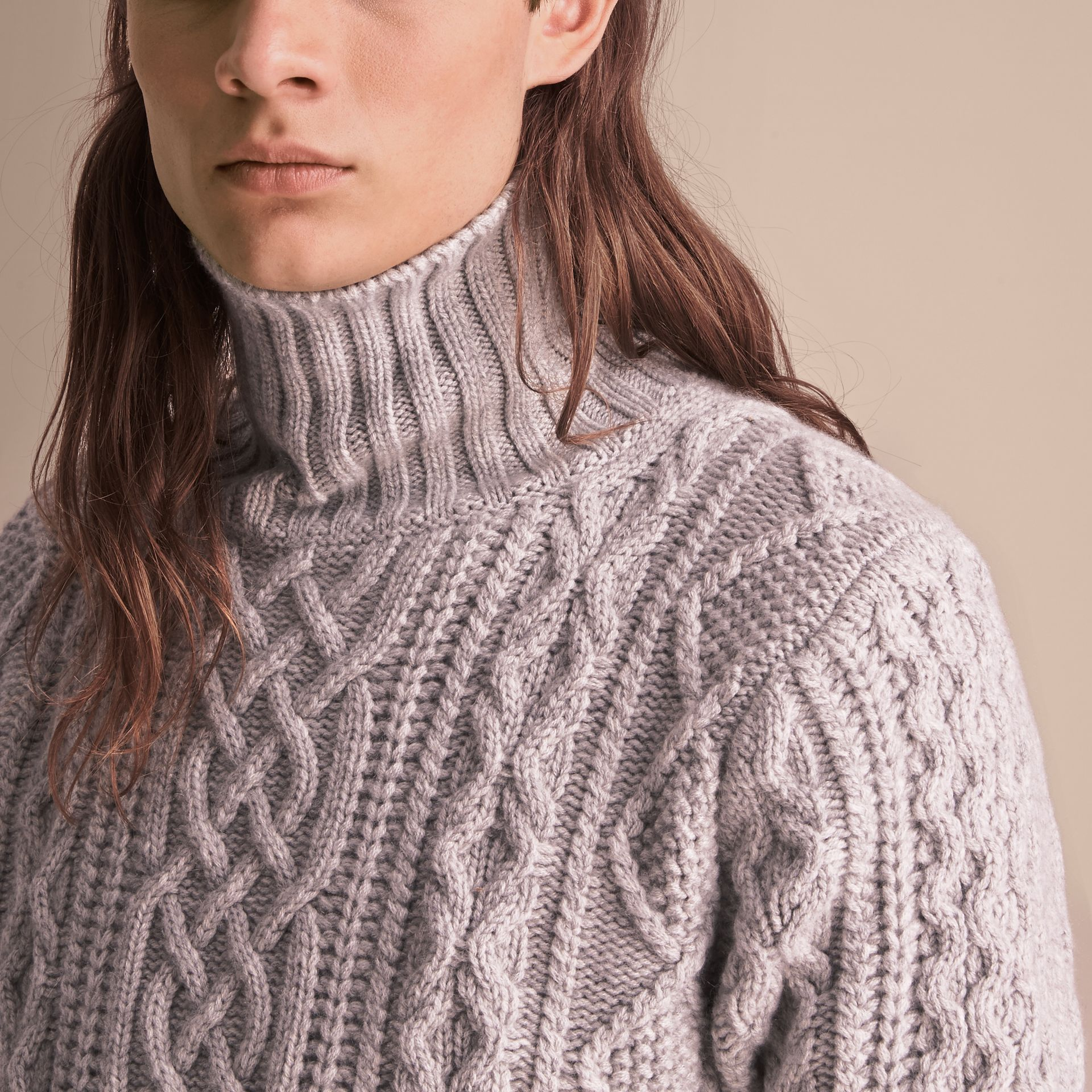 Funnel Neck Cashmere Cable Knit Sweater in Pale Grey Melange - Men | Burberry Singapore - gallery image 5