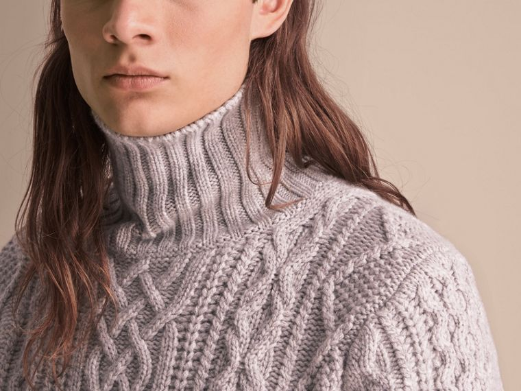Funnel Neck Cashmere Cable Knit Sweater in Pale Grey Melange - Men | Burberry Singapore - cell image 4