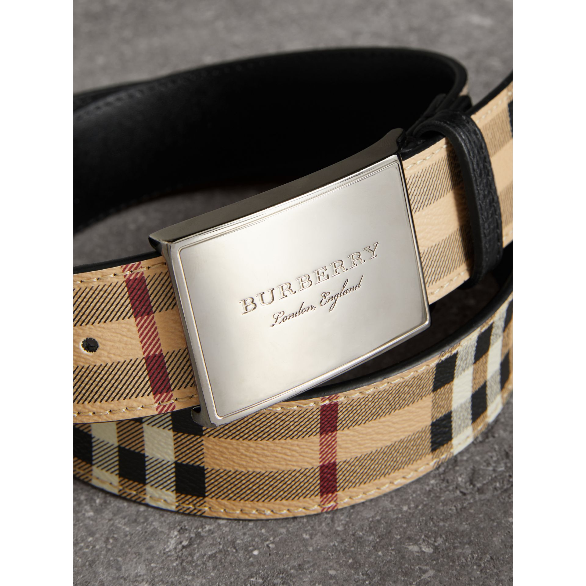 Haymarket Check Belt in Black - Men | Burberry - gallery image 2