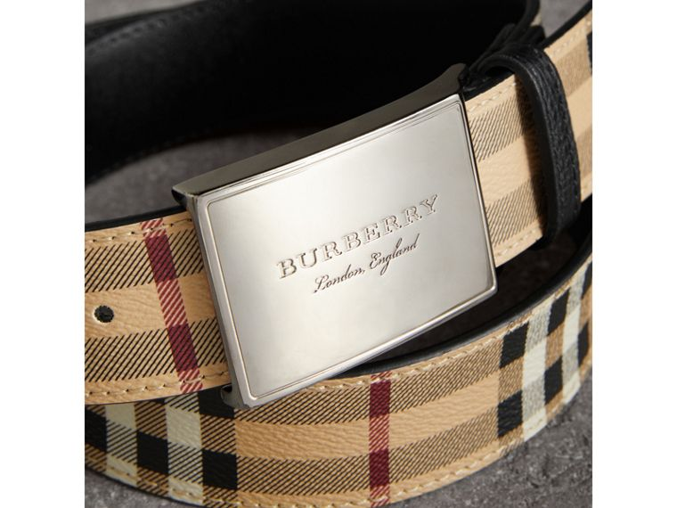 Haymarket Check Belt in Black - Men | Burberry Canada - cell image 1