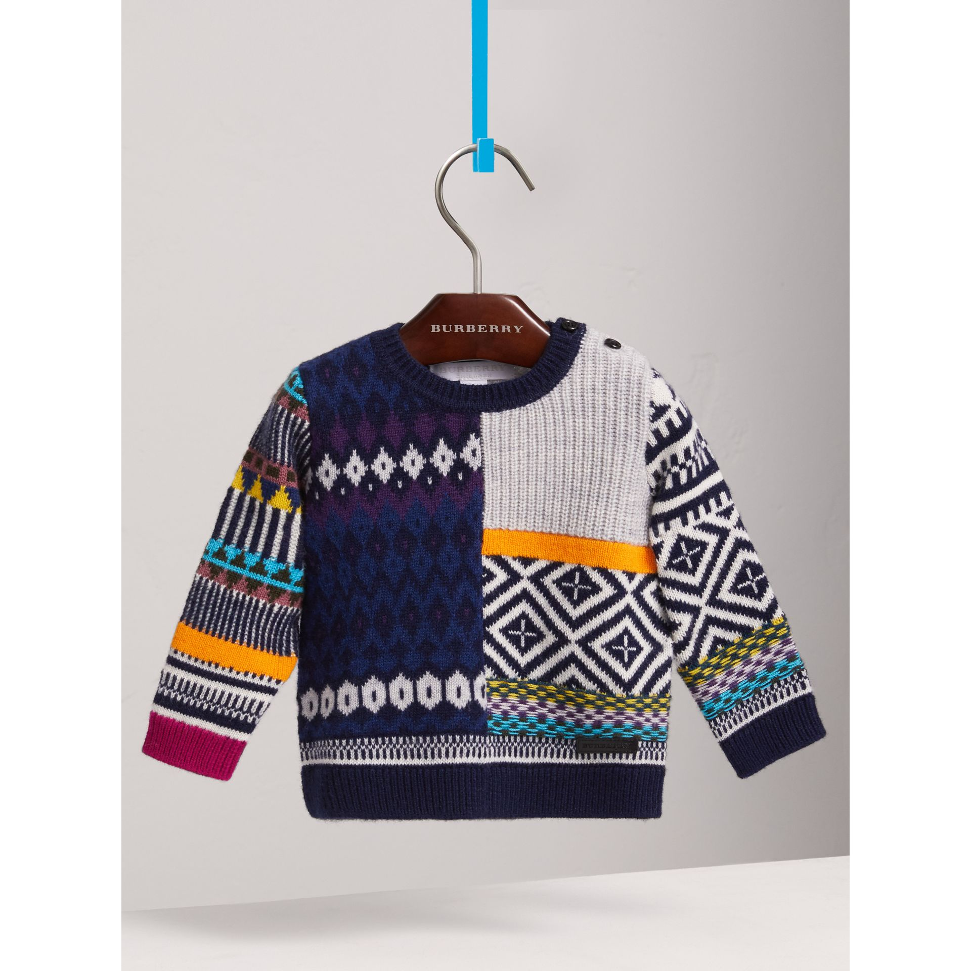 Fair Isle Wool Cashmere Patchwork Sweater in Navy | Burberry United States - gallery image 3
