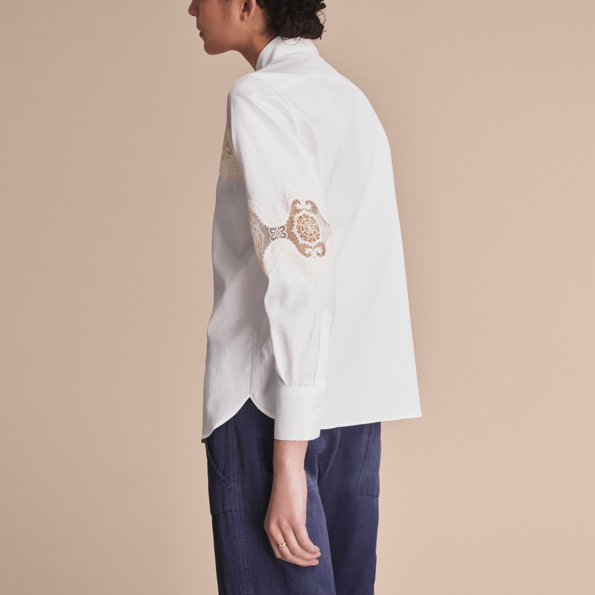 Lace Cutwork Herringbone Cotton Shirt - Women | Burberry - gallery image 3