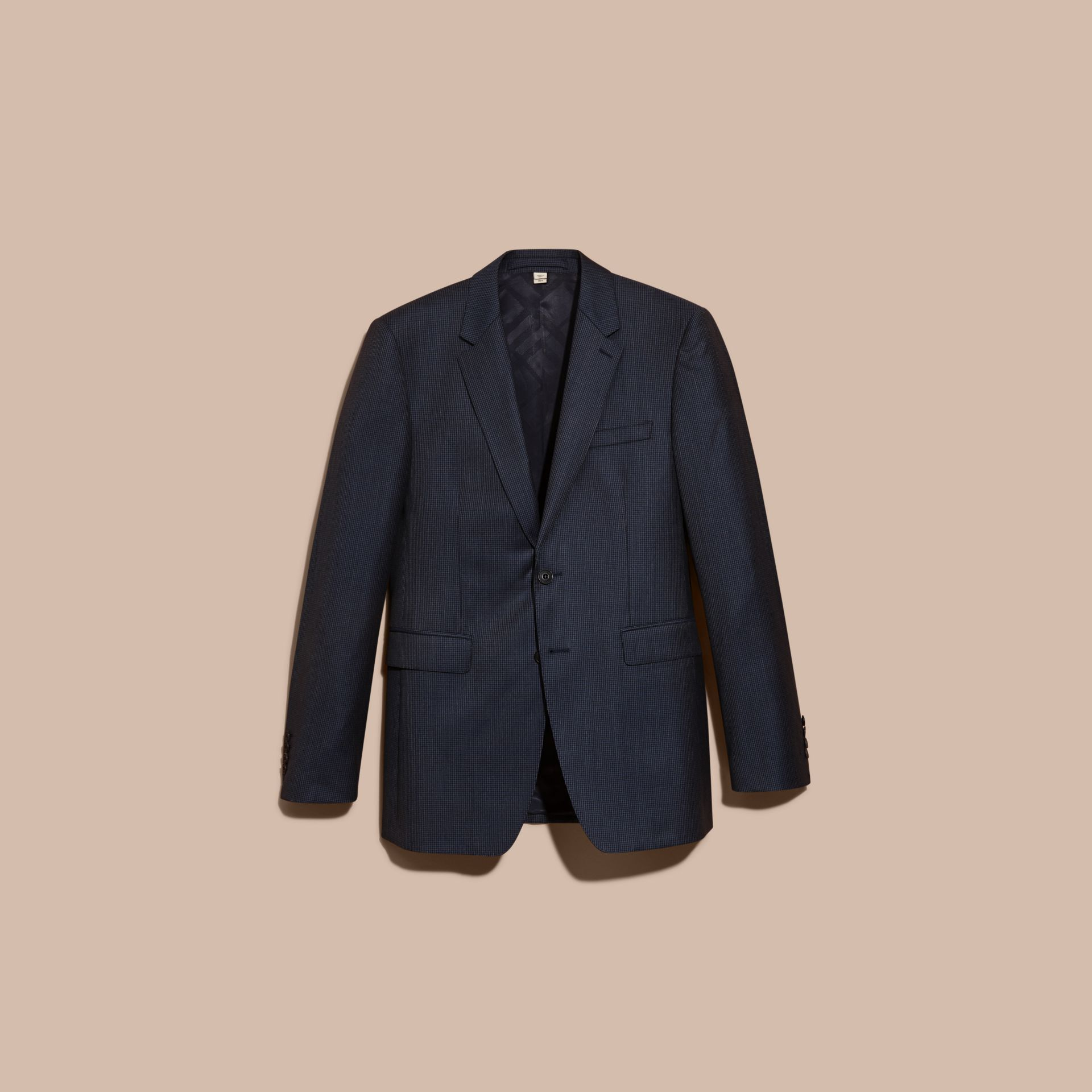 Navy Modern Fit Micro Check Part-canvas Suit - gallery image 4