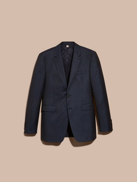 Navy Modern Fit Micro Check Part-canvas Suit - cell image 3