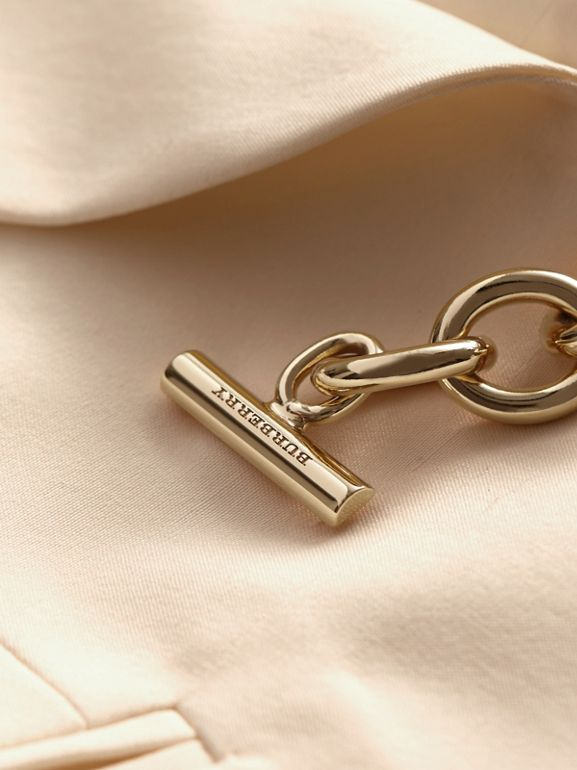 Silk Tuxedo Jacket with Chain Closure in Parchment - Women | Burberry - cell image 1