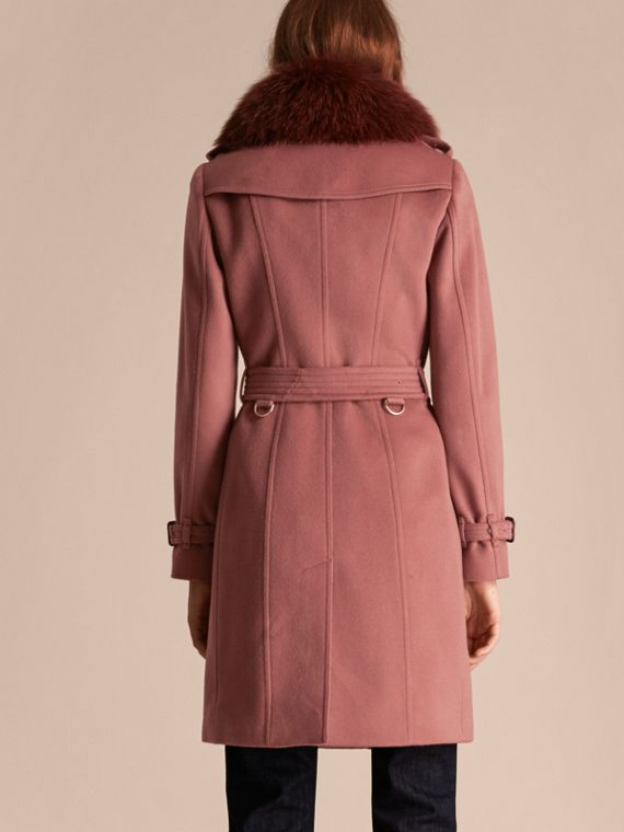 Antique rose Wool Cashmere Trench Coat with Detachable Fur Collar - cell image 2