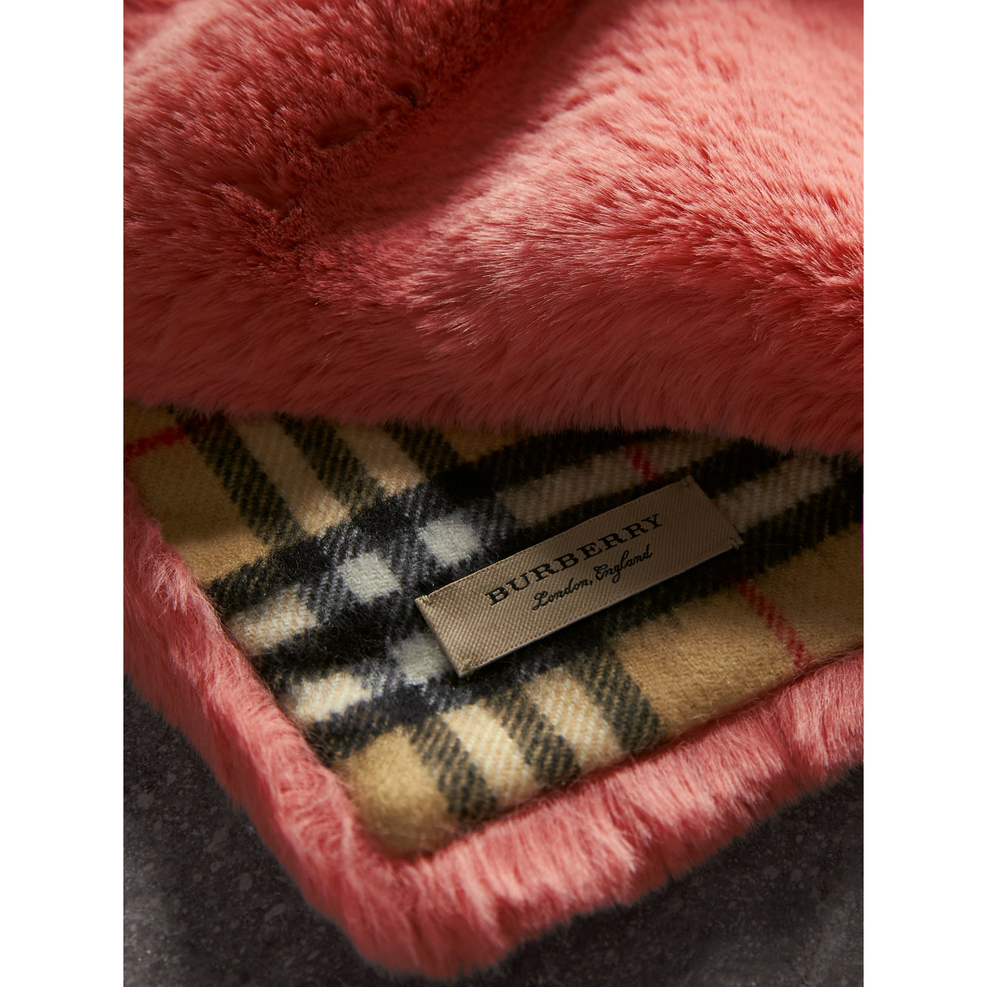 Vintage Check Cashmere And Faux Fur Scarf in Pale Pink | Burberry United Kingdom - gallery image 1