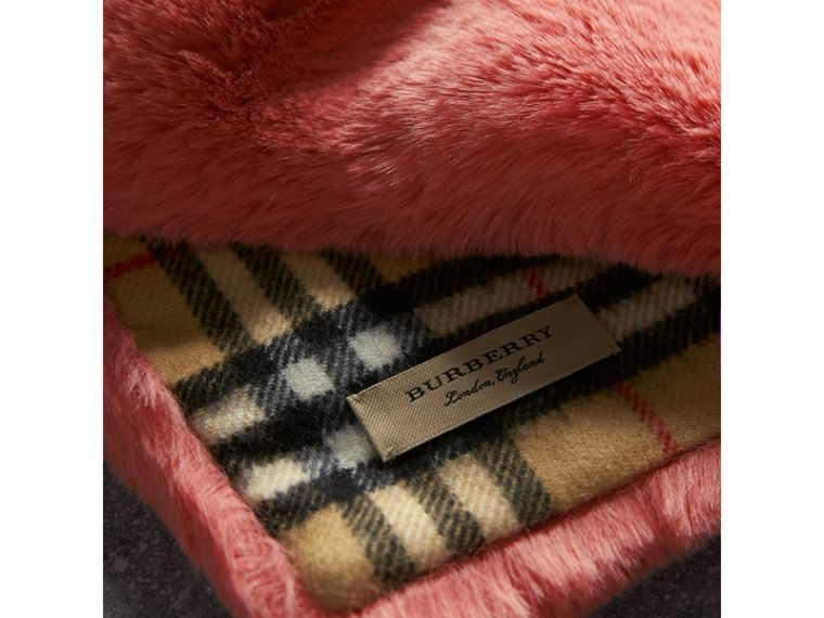 Vintage Check Cashmere And Faux Fur Scarf in Pale Pink | Burberry Australia - cell image 1