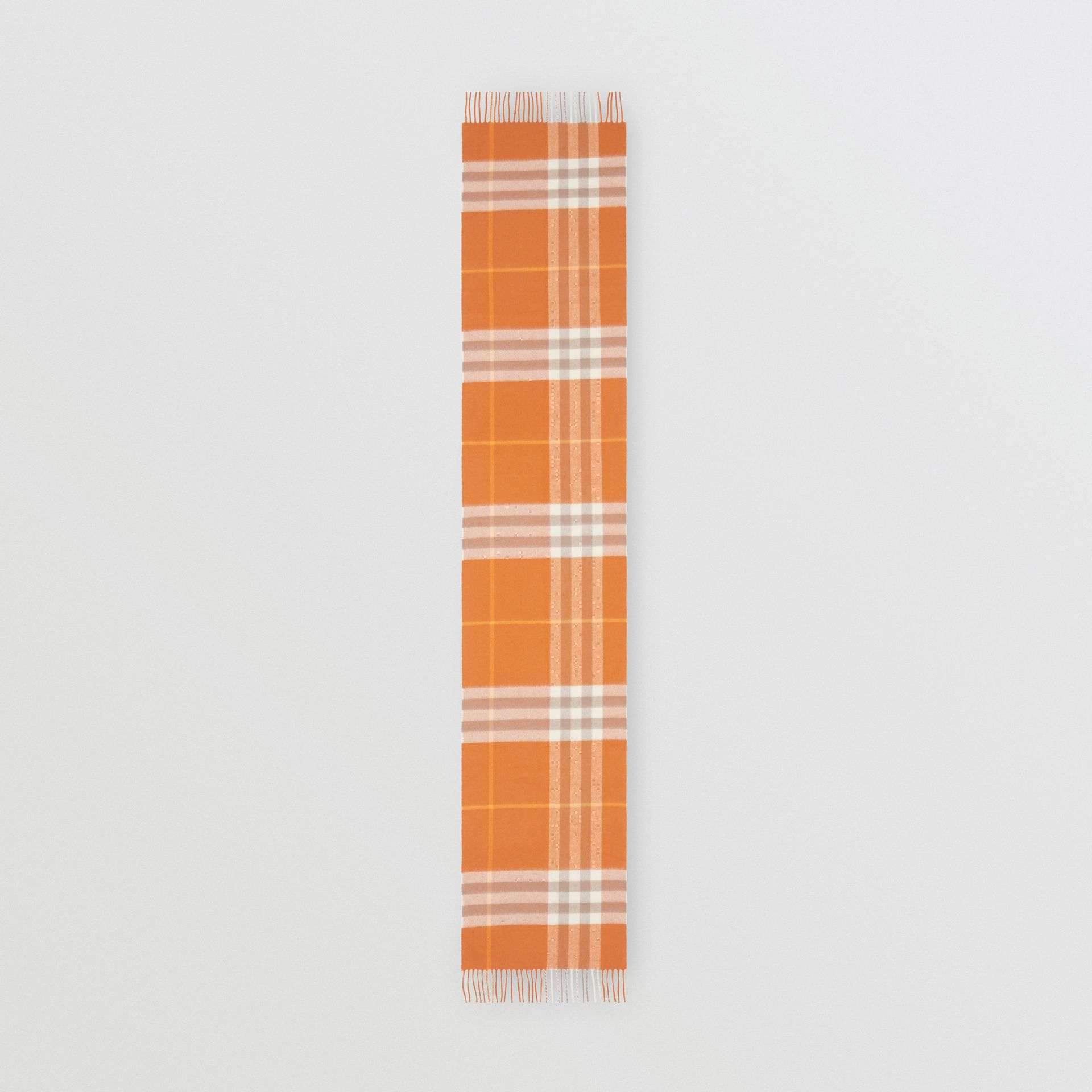 The Classic Check Cashmere Scarf in Bright Melon | Burberry - gallery image 4
