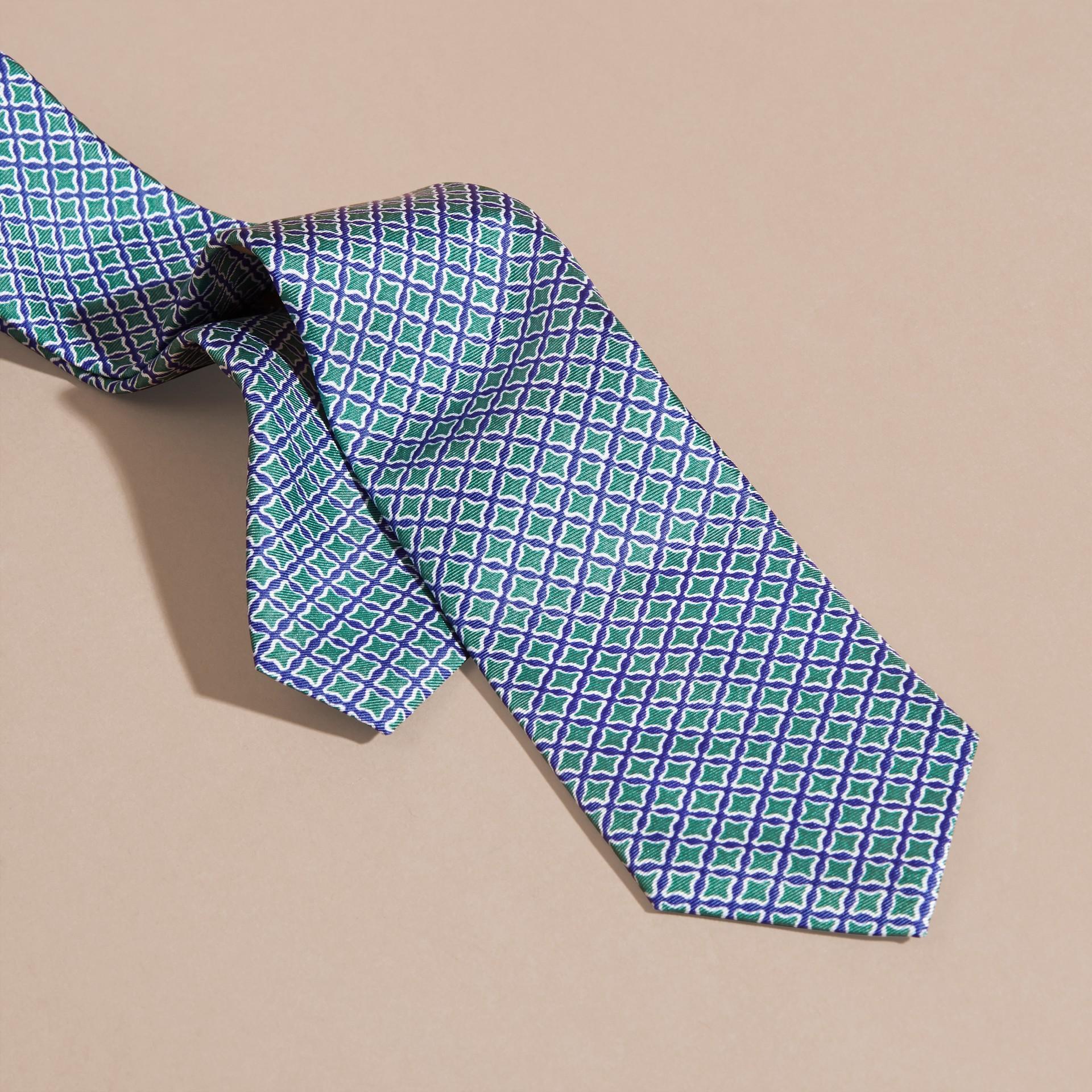 Viridian green Slim Cut Geometric Print Silk Tie - gallery image 2
