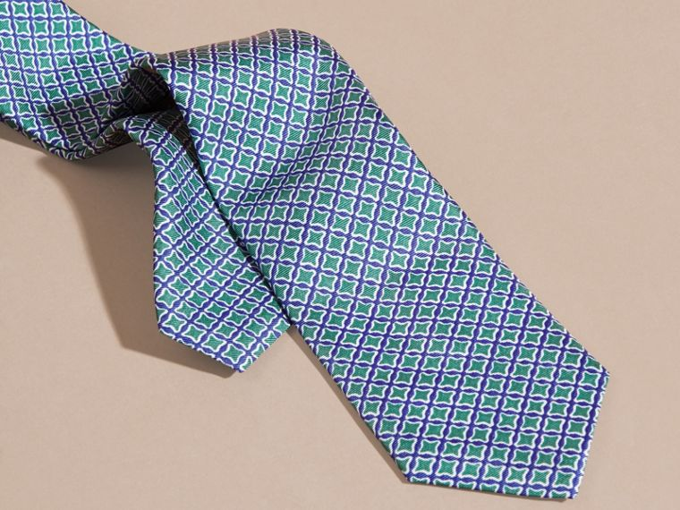 Viridian green Slim Cut Geometric Print Silk Tie - cell image 1
