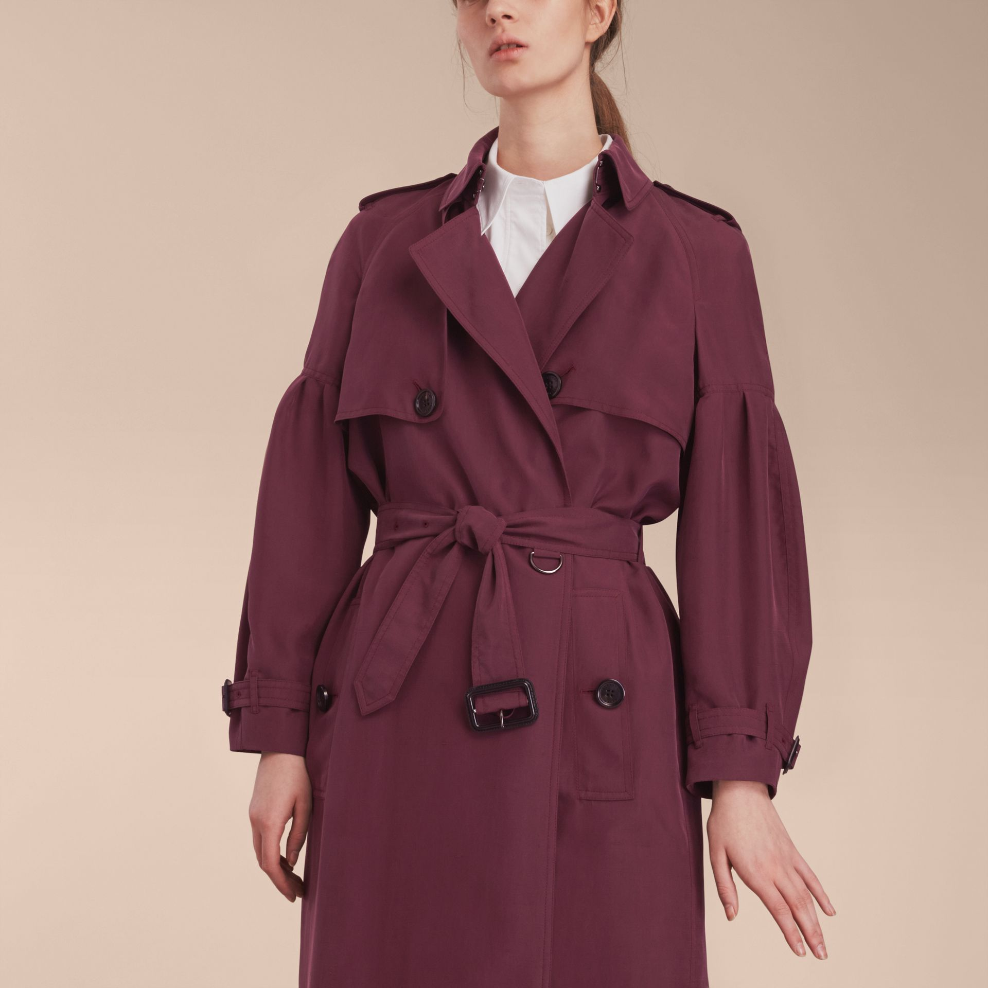 Oversize Silk Trench Coat with Puff Sleeves in Burgundy - Women | Burberry - gallery image 5