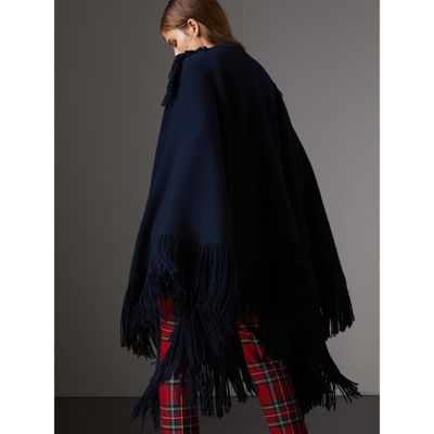 Poncho de lã e cashmere com franjas (Azul Marinho) Mulheres | Burberry