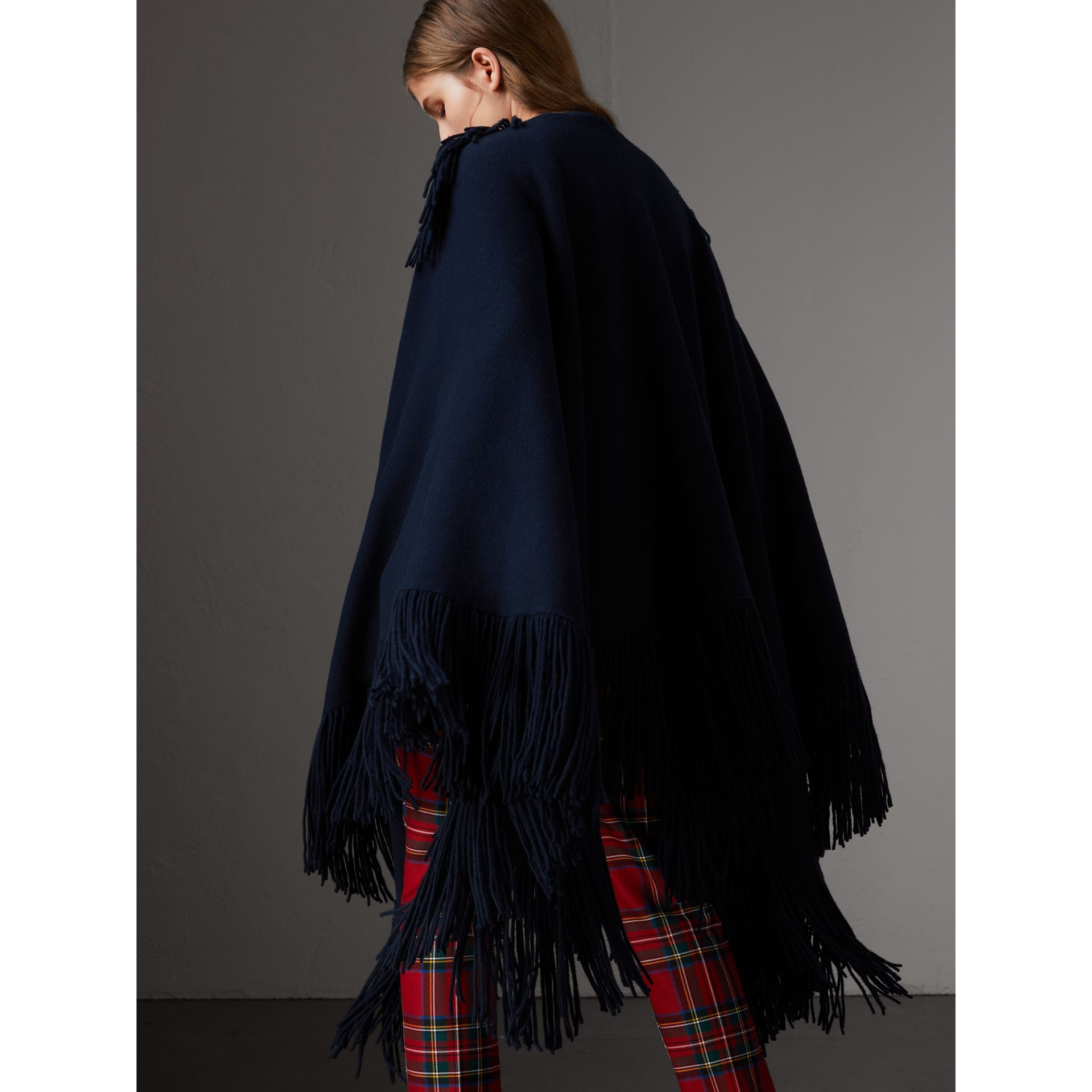 Fringed Wool Cashmere Blend Poncho in Navy - Women | Burberry Australia - gallery image 3