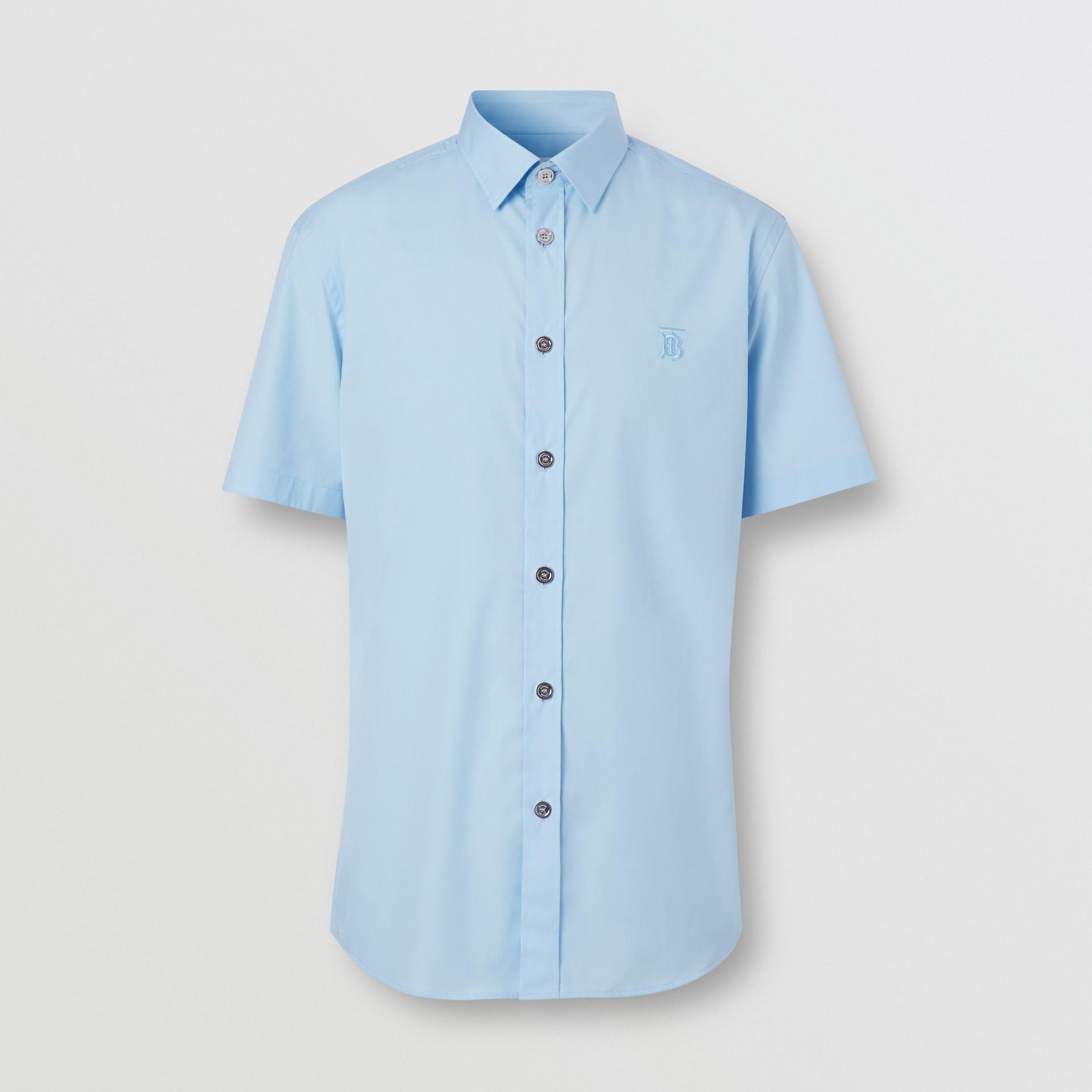 Short-sleeve Monogram Motif Stretch Cotton Shirt in Pale Blue - Men | Burberry United Kingdom - gallery image 3