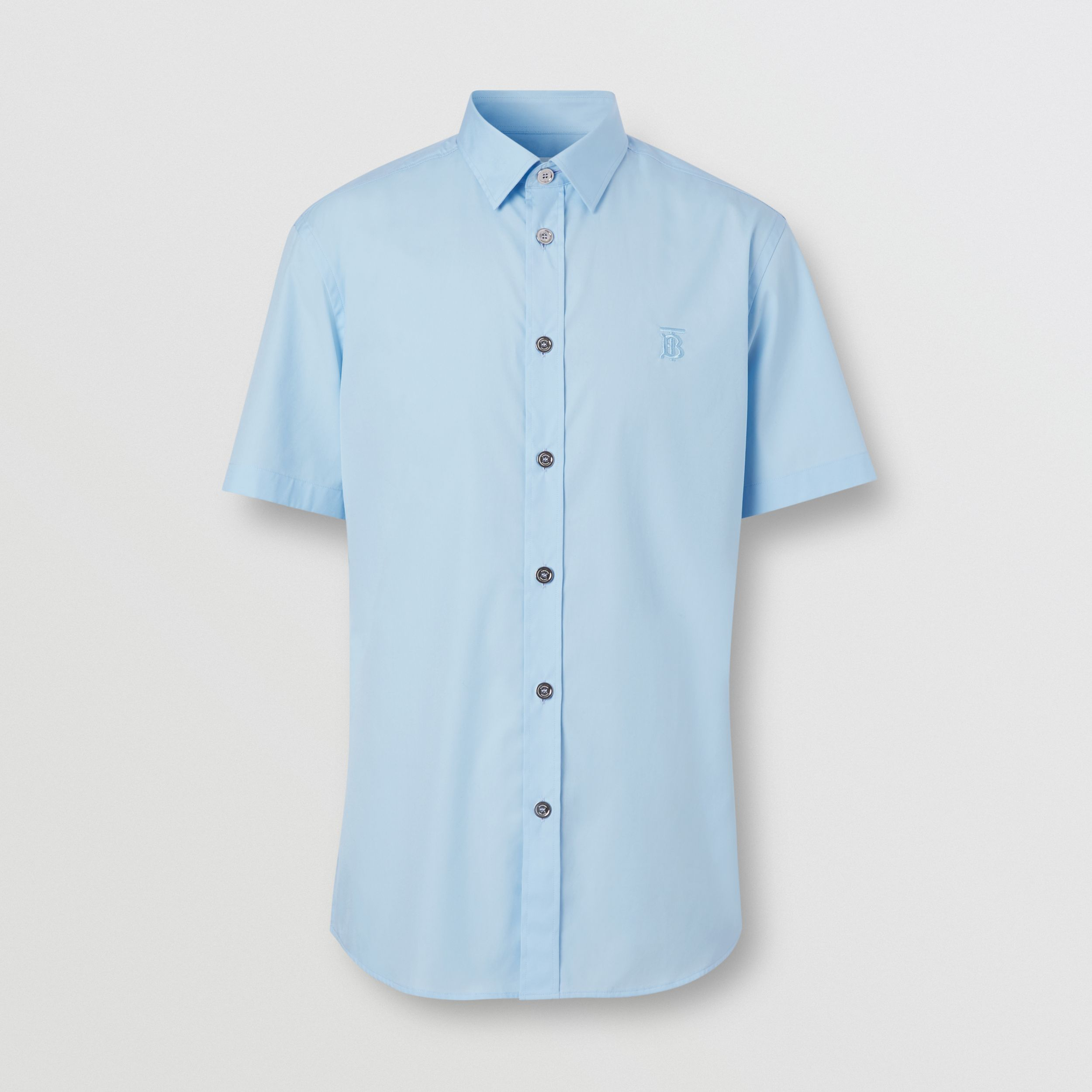 Short-sleeve Monogram Motif Stretch Cotton Shirt in Pale Blue - Men | Burberry - 4