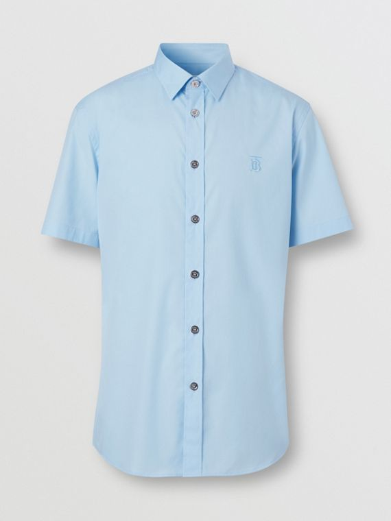 Short-sleeve Monogram Motif Stretch Cotton Shirt in Pale Blue