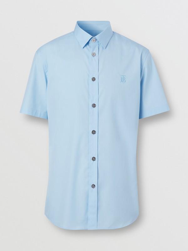 Short-sleeve Monogram Motif Stretch Cotton Shirt in Pale Blue - Men | Burberry United Kingdom - cell image 3