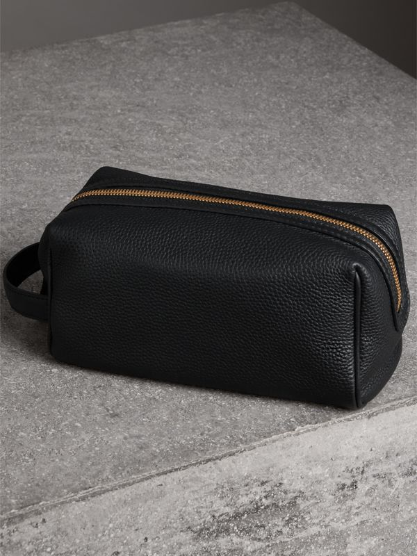 Embossed Grainy Leather Pouch in Black | Burberry Singapore - cell image 2
