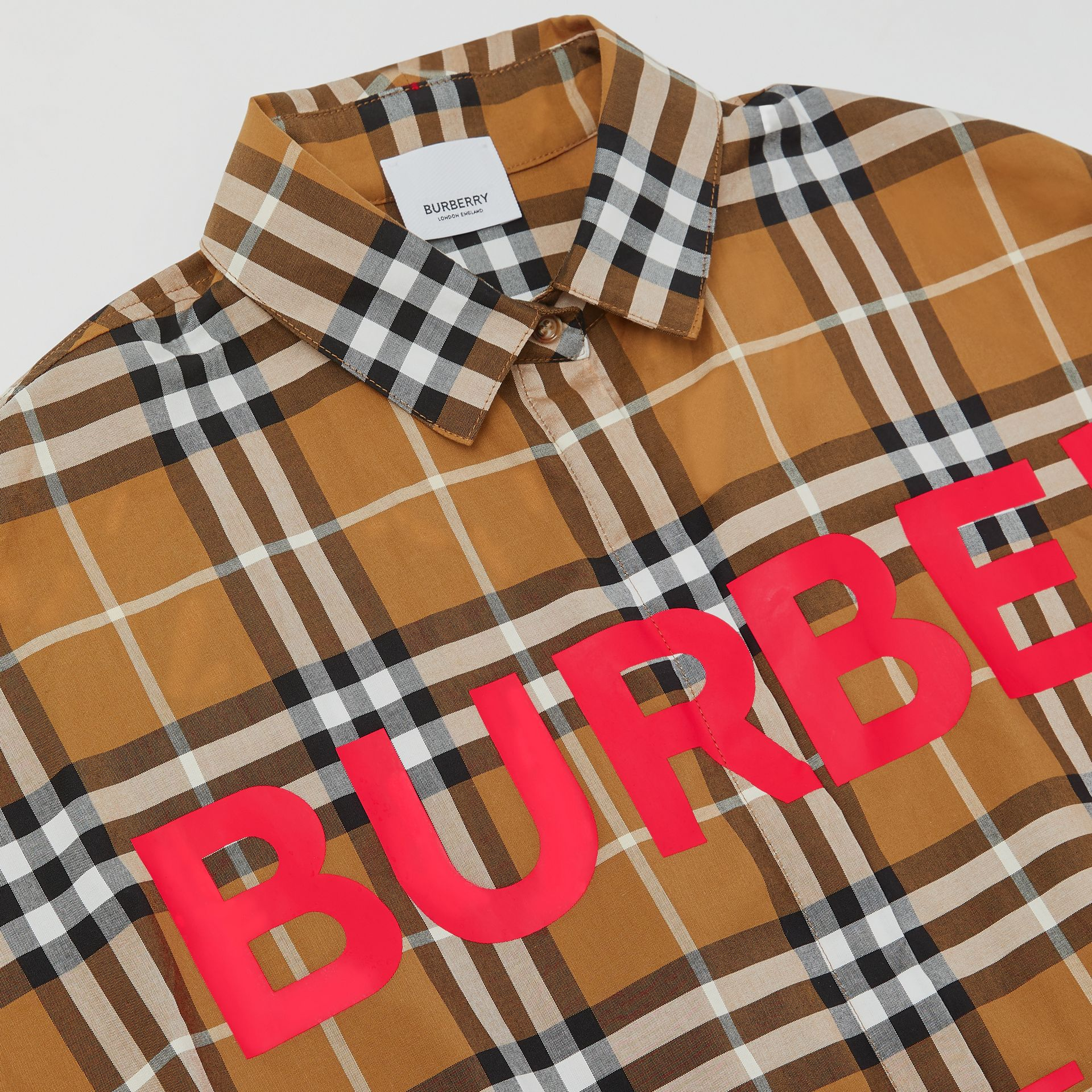 Horseferry Print Check Cotton Shirt Dress in Warm Walnut | Burberry - gallery image 1